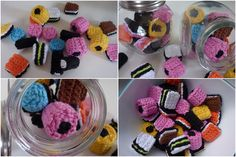 Crochet pattern liquorice allsorts (Engelse drop) in Dutch by Haakfeest. Diy Crochet And Knitting, Crochet Gratis, Crochet Amigurumi, Crochet Food, Love Crochet, Amigurumi Patterns, Crochet Patterns, Liquorice Allsorts, Liquorice Sweets