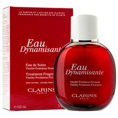 Clarins Eau Dynamisante. Vitality, Freshness, Firmness.  Eau wow! The first fragrance and body treatment in one spa: fresh formula. This invigorating aroma, suitable for both men and women, moisturises, firms and tones with essential oils of lemon, patchouli, petit grain, gingeng and white tea. The non photosensitising formula is safe enough to wear in the sun.