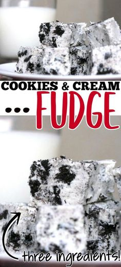 COOKIES AND CREAM FUDGE RECIPE - This simple cookies and cream fudge recipe is only three ingredients and comes together in a matter of minutes! No one will ever know it was so easy! Fudge Recipes, Chocolate Recipes, Baking Recipes, Candy Recipes, Vegan Recipes, Dessert Recipes, Easy No Bake Desserts, Easy Desserts, Delicious Desserts