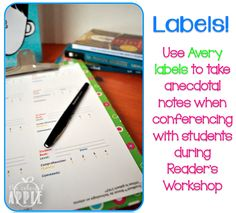 Love this idea for keeping notes as I confer with students! So easy to use pre-printed labels :)