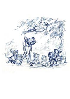 Bambi Concept Art by Milt Kahl.