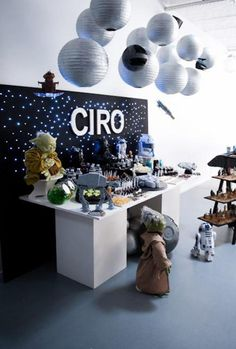 Star Wars Party - use black foam board and have icicle lights peak through with spray painted lanterns