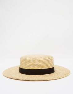 French Connection Straw Boater Hat 9adb03b4d299