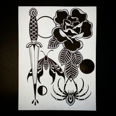 #dagger #rose #spider #moth #moon #tattoo designs.  Ink on heavyweight illustration paper.  Original for sale.