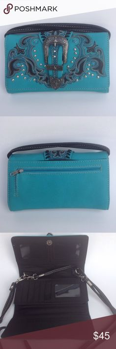 Teal Clutch / Purse Beautiful design buckle front with zipper pocket and slip pocket on back. 3 ID pockets, 5 slip pockets, 9 card pockets and a zipper pocket inside. Snap closure with wristlet strap and shoulder strap. Measurements were done by hand. Check out my other items for a bundle discount. PRICE FIRM UNLESS BUNDLED!!! Bags Clutches & Wristlets