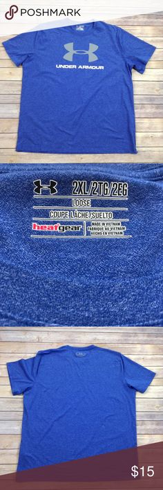 """Under Armour blue loose fitting short sleeve top EUC!  APPROX FLAT MEASUREMENTS  30"""" ↕️ 26"""" ↔️ armpits 20"""" ↔️ shoulders 9"""" sleeves 8"""" ↕️ arm opening BK5 If you have any doubt about the fit...  🔸I recommend comparing these measurements to items you already own and love to wear    🔸Ask any questions, I'm happy to answer! Under Armour Shirts Tees - Short Sleeve"""