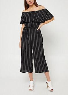 262f684ac16 Black Striped Pattern Off Shoulder Culottes Jumpsuit...  ) Wide Leg Cropped  Pants