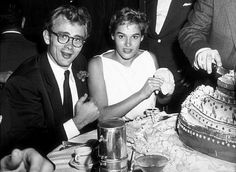 James Dean and Ursula Andress at a Villa Capri celebrity party, Hollywood, CA, 1955.