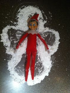 Elf on the Shelf Idea Snow Angel