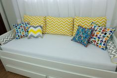 Kit big almofadas chevron amarelo para cama auxiliar - PiLuLiTo