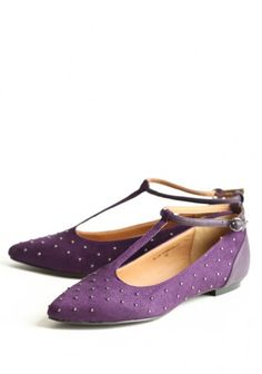 purple flats with straps, pointy toe