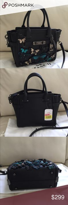 4167047a3f9d Coach Butterfly Applique Swagger 21 Black NWT Coach Butterfly Applique  Swagger 21 - New with Tag Style  37912 DK Black Multi Glovetanned Leather  Carryall ...