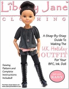 Liberty Jane UK Holiday outfit pattern for BFC, Ink Dolls - Doll clothes - PDF sewing pattern -