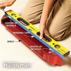 Hanging a floating shelf: Put the tape ON the level itself, Mark keyhole locations, place level on wall and transfer markings