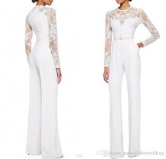 Modest White Elie Saab Lace Long Sleeves Jumpsuit Pant Suits Jumpsuit Embellished Women Formal Evening Wear Custom Special Occasion Dresses Vestido De Festa Long Sleeve Evening Gowns Evening Gowns Sleeves Online with $168.46/Piece on Caradress's Store   DHgate.com