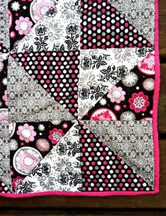 Baby Blanket Quilt Girly Black Pink White by AllPatchedUpQuilts