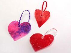 Wax paper and crayon hearts.