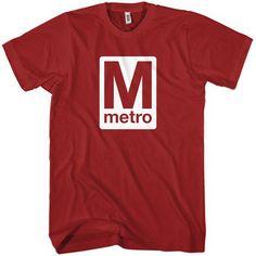 Washington DC Metro T-shirt - Men S to 4XL and Youth XS to XL - Black, Dark Red or White. $20.00, via Etsy.