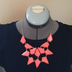 Coral Statement Necklace Gold chain with coral jewels Jewelry Necklaces