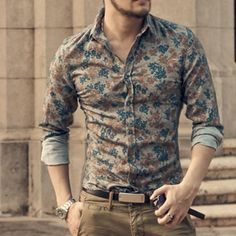 New Fashion Casual Men Shirt Long Sleeve Europe Style Slim Fit Shirt Men High Quality Cotton Floral Shirt - Mens Shirts Casual - Ideas of Mens Shirts Casual - /collections/all Formal Men Outfit, Casual Outfits, Men Casual, Casual Shirts For Men, Look Fashion, New Fashion, Fashion Bags, Fashion Vest, Fashion Ideas