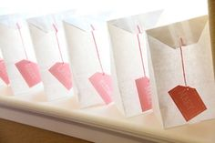 "Giant ""Tea Bags"" (made from white lunch bags) to use for Party Favors"