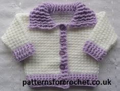 Baby cardigan with collar Free Crochet Pattern, can be matched with Pull on Hat with Pom-Poms to make a Set. http://www.patternsforcrochet.co.uk/ribbed-cardigan-usa.html #crochet #patternsforcrochet