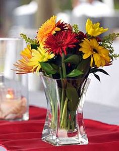 Yellow and Red Gerbera Centerpiece
