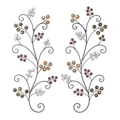 Decmode Set of Two - 37 Inch Natural Wrought Iron Scrollwork Tree Wall Sculptures With Ceramic Bead Accents, Multi, Size: 1 inchD x 15 inchW x 37 Metal Flower Wall Art, Metal Tree Wall Art, Metal Wall Sculpture, Wall Sculptures, Metal Art, Tree Sculpture, Wall Decor Set, Metal Wall Decor, Wall Decorations