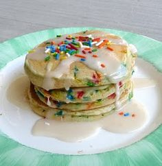 Cake Batter pancakes. Birthday Breakfast