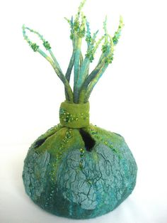 Box of Secrets' turquoise dream - beautiful colours and delicate beading. Felted sculpture