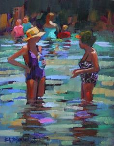 WOMEN AT PIRATES COVE SHARING SECRETS IN THE SURF, painting by artist Elizabeth Blaylock