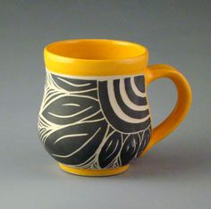 Orange Scraffito Mug with Sunny Flower by cinderelish on Etsy, $35.00