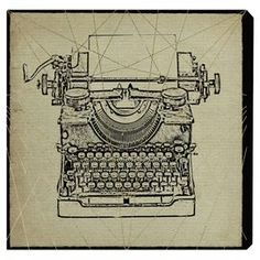 this hand-stretched canvas print features a vintage-inspired typewriter motif for antiqued style.