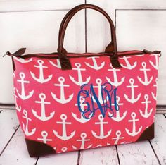Pink with White Anchors Large Tote Bag by ZephyrAndTwine on Etsy