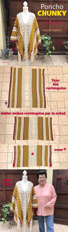 Poncho CHUNKY tejido a crochet paso a paso en video tutorial 😍 Tres tallas para damas: small, medium y large 😉