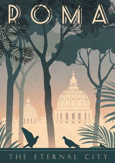 Retro Italy Travel Inspiration - Rome Art Deco Poster Print Vintage Italy Vatican City Retro Vogue Cityscape Travel Holiday Romantic Bahaus Roma - Vintage style art print - designed by Kate Sampson Rome themed, featuring St Peters dome, pine trees Art Deco Posters, Poster Prints, Art Prints, Art Deco Artwork, Poster Wall, Vintage Italy, Vintage Art, Retro Art, Vintage Vogue