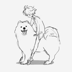 Geometric dog tattoo Ideas is part of Geometric Dog Tattoo Dog Simple Tattoos Momcanvas Com - anime, dog, and manga image Art And Illustration, Animal Drawings, Cute Drawings, Drawing Faces, Samoyed Dogs, Girl And Dog, Dog Art, Cute Art, Art Sketches