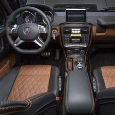 Inside the all-new Mercedes-AMG G65 is an interior as exceptional as the handcrafted V-12 under the hood. The standard designo Executive Package includes two-tone AMG sport seats with diamond-stitched leather, a DINAMICA headliner, plus AMG's famous Affalterbach crest embossed in the head restraints. #Mercedes #Benz #G65AMG #G65 #AMG #V12 #NewYork #NYIAS #NYIAS2015 #NewYorkInternationalAutoShow #instacar #carsofinstagram #germancars #luxury @NYAutoShow