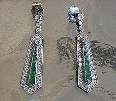 18ct Gold Art Deco Emerald & Diamond Earrings