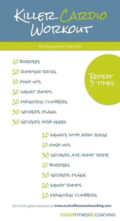 sassyfitblog:   Killer Cardio Workout!  Perform... | Sassy Fit Girl