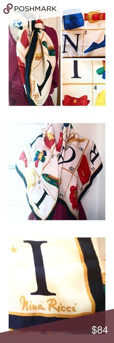 """Nina Ricci Silk Scarf, Large, Gift, Vintage I've a lovely Nina Ricci Scarf to offer you  """"All I want for xmas...""""  Vintage 1980's  Approx 33"""" x 33"""", def a large piece  100% Silk (so soft!) Nina Ricci Accessories Scarves & Wraps"""