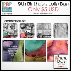 Celebrate PBP's 9th Birthday with Lolly Bags ONLY $5 now through August 10, 2015! Lolly Bag 2 - CU {by Jumpstart Designs}
