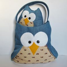 Barney Owl toy and owl bag by fluff and fuzz, designs by Amanda Berry, via Flickr