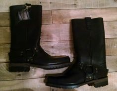 BNWT Vintage Shoe Company Salinger Black Leather Motorcycle Riding Boots 8 M Men
