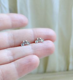 Bicycle Stud Earrings Sterling Silver Bicycle by laplumeblanche