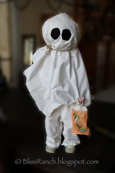 diy halloween ghosts using recycled clothes, crafts, halloween decorations, seasonal holiday decor, Wood Form Halloween Ghost Outgrown clothes version Diy Halloween Ghosts, Halloween Vintage, Outdoor Halloween, Diy Halloween Decorations, Halloween House, Halloween Crafts, Halloween Costumes, Yard Decorations, Homemade Halloween
