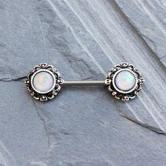 316L Stainless Steel Vintage Charm Nipple Bar with White Synthetic Opal