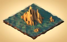 Sea Mountains (Low Poly Isometric) by error23 , via Behance