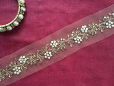 Pearls Kundan Net Indian Trim, Light Beige Net Golden Zari Diamantes Net Embroidered Trim, Indian Bridal Lace Sari Border, 3 cm W Price/ Mtr