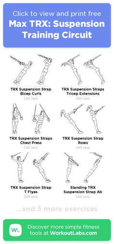 Max TRX: Suspension Training Circuit – click to view and print this illustrated exercise plan created with #WorkoutLabsFit Suspension Training, Suspension Workout, Trx Suspension Trainer, Workout Schedule, Workout Tips, Trx Workout Plan, Band Workouts, Trx Training, Strength Training